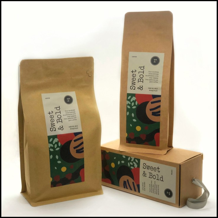 respite Sweet and Bold coffee beans and tea bag pouch